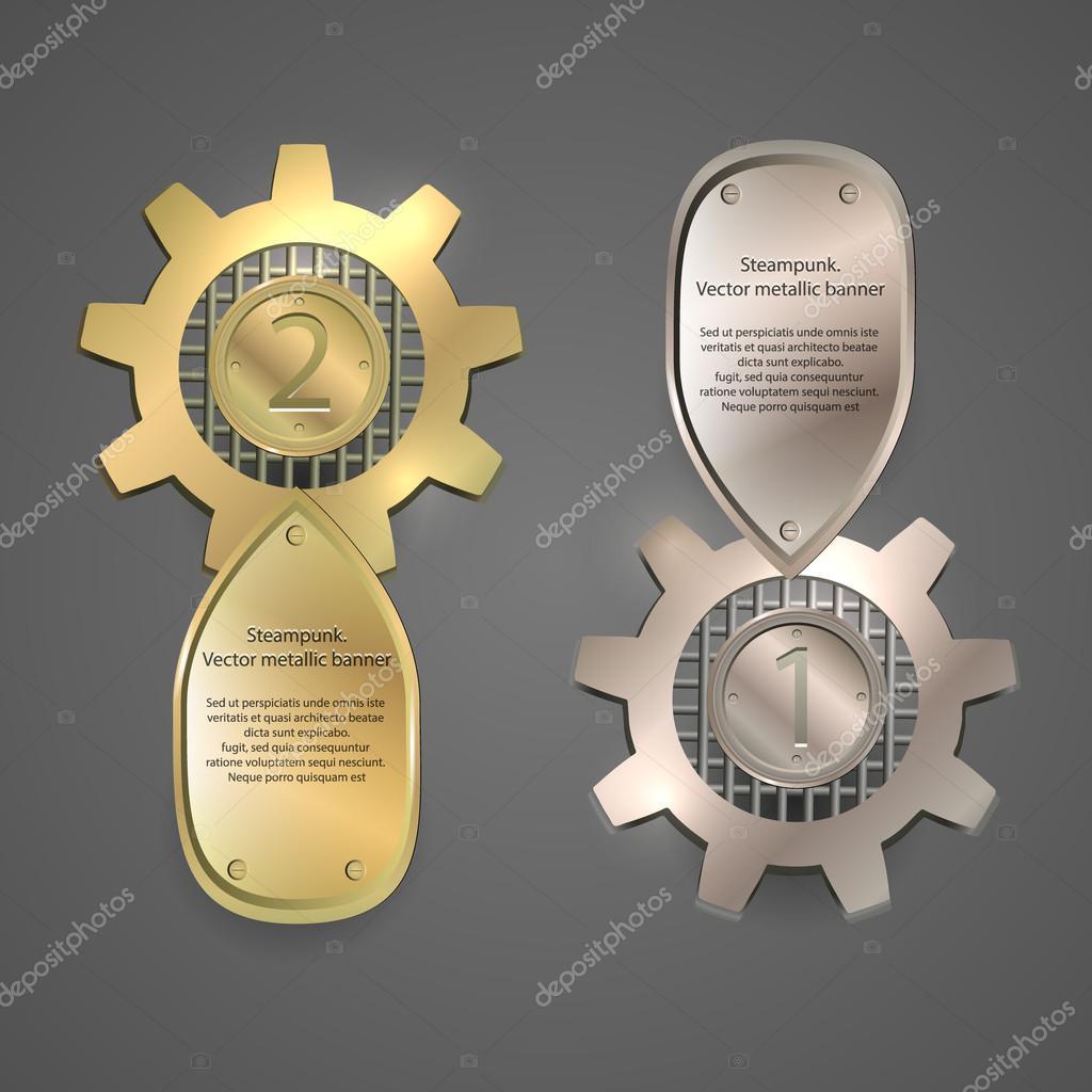 金属横幅,徽标,蒸汽朋克风格的标签 — 图库矢量图像