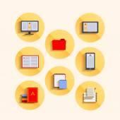 読書のためのフラット スタイル、スープ、ガジェットのアイコンのセット — ストックベクタ
