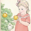 Vintage style Christmas greeting card. A girl decorating a Christmas tree. — Stock Vector #58973967