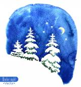 Hand-painted watercolor illustration of winter forest night.  Vector design or Christmas card, invitation or other. — Stock vektor