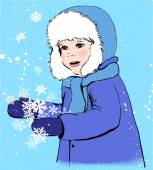 Portrait of cute child boy, smiling, playing with snow flakes, wearing winter clothes: blue coat, scarf and cap with white fur. Vintage style vector illustration for Christmas card, calendar or other — Stock Vector