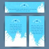 Set of vertical and horizontal banners. White silhouettes of fir trees and pines on blue background. Vector design for cards, invitation and other . — Stock Vector