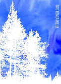 White silhouettes of pine trees on blue watercolor background. Vector illustration for winter design. — Vecteur