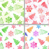 Set of four seamless Christmas and new year patterns with watercolor bright firs and snowflakes on white background. — Stock Vector