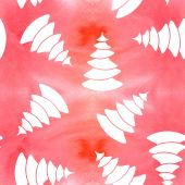 Seamless Christmas and new year pattern. White fir silhouettes on watercolor pink background. — Stock Vector