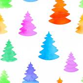 Seamless Christmas pattern with watercolor bright fir-trees. — Vecteur