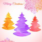 Bright watercolor composition of three stylized Christmas trees, snowflakes and multicolor sign. Decorative colors: red, orange, purple. Vector illustration. — Cтоковый вектор
