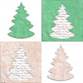 Texture of crumpled craft paper with a stylized shape of Christmas fir trees. Set of four grunge vector illustration, beige natural and green color. — Stock Vector