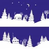 Seamless border with silhouettes of winter countryside landscape: firs, trees, houses, bushes, snowdrifts, moon and stars. Seamless each one and together. Vector illustration. — Stock Vector