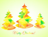 Bright watercolor composition of three stylized Christmas trees and multicolor sign. Decorative colors: yellow, red, orange, green. Vector illustration. — Vecteur