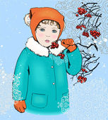 Portrait of sentimental child girl with rowan berries branch, wearing winter clothes: turquoise coat with white fur and cap . Vintage style vector illustration for Christmas card, calendar or other. — Stock Vector