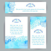 Set of vertical and horizontal banners. Hand-painted blue watercolor colorful leaves and spirals motif. Vector design for cards, invitation and other . — Stock Vector