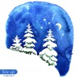 Hand-painted watercolor illustration of winter forest night. Fir trees covered with snow on the background of night sky with moon and stars. Vector design or Christmas card, invitation or other. — Stock Vector #59792537