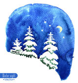 Hand-painted watercolor illustration of winter forest night. Fir trees covered with snow on the background of night sky with moon and stars. Vector design or Christmas card, invitation or other. — Stock Vector