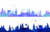 Hand-painted set of two watercolor borders with blue country landscape: silhouettes of fir trees, houses, moon, stars and lantern. Each one is seamless. Vector illustration on white background. — Stock Vector