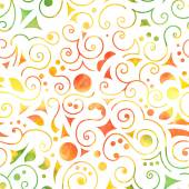 Seamless pattern on white background, multicolor swirls, circles, triangles and leaves . Vectorized watercolor. — Stock Vector