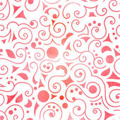 Seamless pattern on white background, pink swirls, circles, triangles and leaves . Vectorized watercolor. — Stock Vector