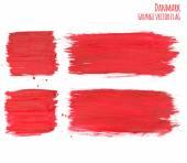 Painted grunge Denmark flag, brush strokes on white background. Vector illustration — Vector de stock