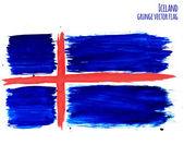 Painted grunge Iceland flag, brush strokes on white background. Vector illustration — Stock Vector