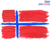 Painted grunge Norway flag, brush strokes on white background. Vector illustration — Stock Vector