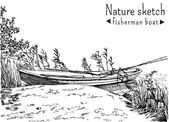 Sketch of fisherman boat at a shoe of lake — Wektor stockowy