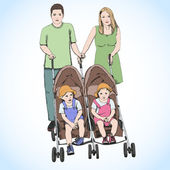 Parents pushing double stroller with twins — Stock Vector