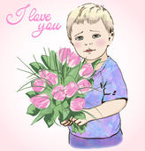 Boy holding pink tulips — Stockvector