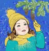 Girl touching fir tree branch — Stock Vector