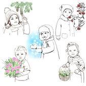 Set of children sketches — Stock Vector