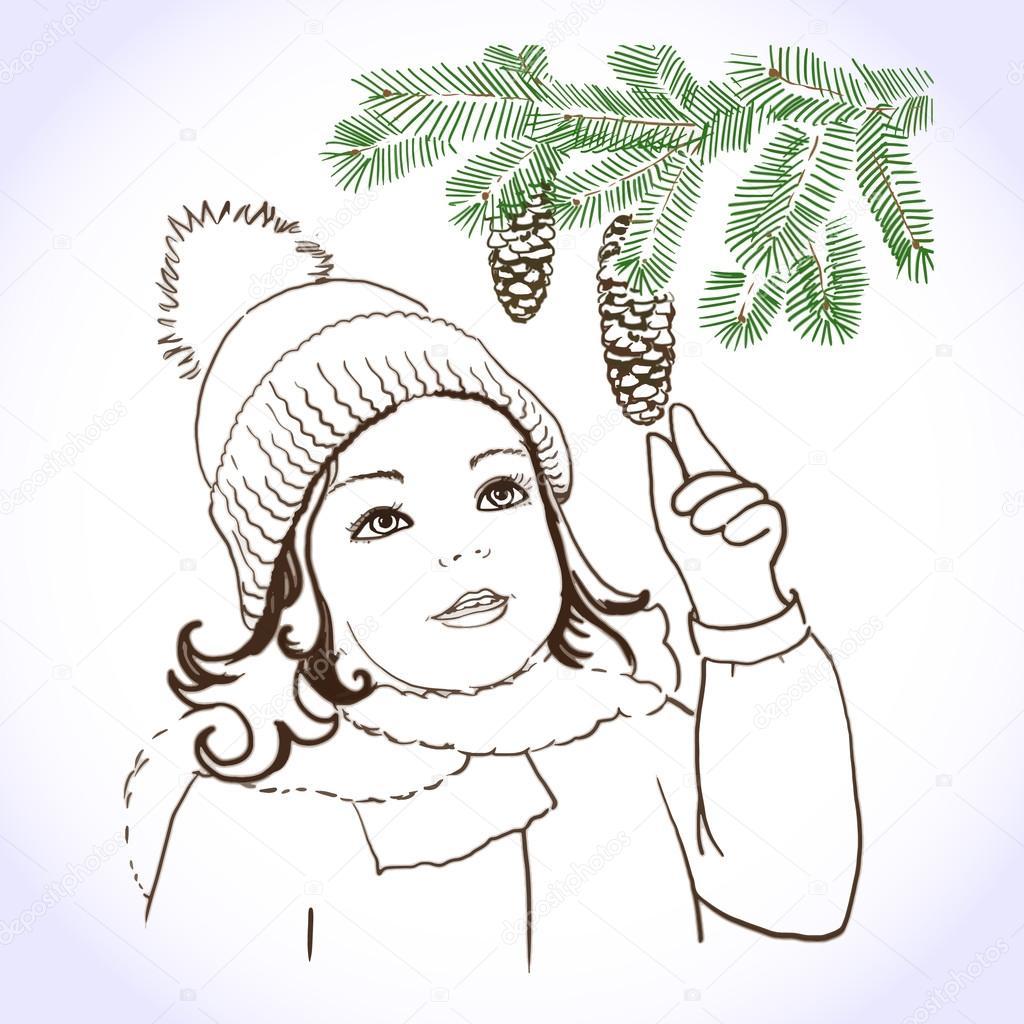 手绘冬天画像的可爱儿童女孩,穿上暖和的衣服.