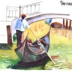 Gondolier in gondola in Venice — Stock Vector #65582923