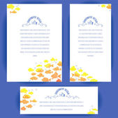Banners with gold fishes — Stock Vector