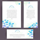 Banners with blue fishes — Vector de stock