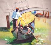 Watercolor Gondola on canal in Venice — Stock Vector