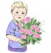 Child with  bouquet of flowers — Stock Vector