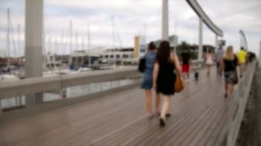 Crowded Maremagnum Bridge Time Lapse Blurred — Stock Video