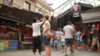 Crowded Market Place in Barcelona Time Lapse Blurred — Stock Video
