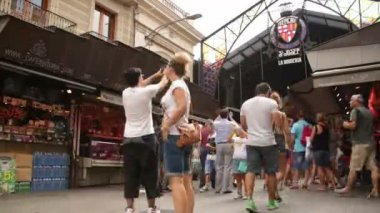 Crowded Market Place in Barcelona Time Lapse — Stock Video