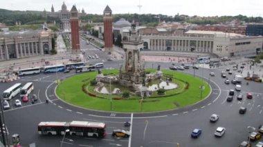 Plaza Spain in Barcelona Vehicles Traffic Scenics Time Lapse. Vehicles in the Plaza Spain in Fira de Barcelona. — Vidéo