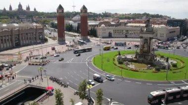 Fira de Barcelona Square Life Traffic Time Lapse. — Vídeo de stock