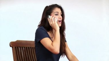 Mediterranean Girl Chatting on the Phone — Stock Video