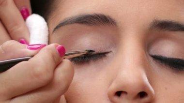 Face Makeup Black Eyeliner — Stock Video