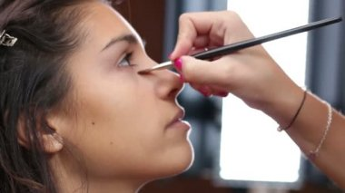 Gesicht make-up mit anti-glare — Stockvideo
