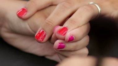 Make Up Making Red Nails Glossy — 图库视频影像