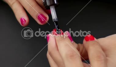 Make Up Making Red Nails Glossy — Stock Video