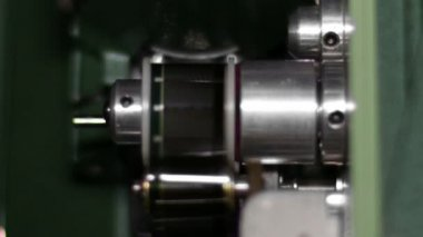 16mm Film Projector Gear Projecting Movie — Stock Video