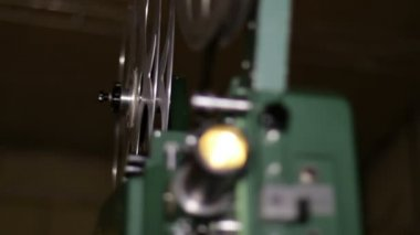 Film Projector Projecting 16mm Movie Rack Focus — Stock Video