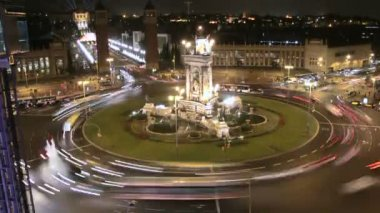 City Square Life Traffic Time Lapse at Night — Stock Video