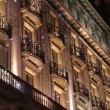 Barcelona Christmas Decorative Led Lights on Facade — Stock Video #58944489