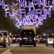 Barcelona Christmas Street Lights Decorations and Traffic — Stock Video #59085611